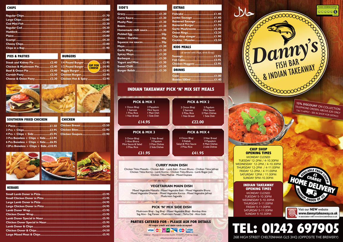 design portfolio menu printing uk