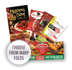 Choose from Many Folds - B4 Takeaway Menus