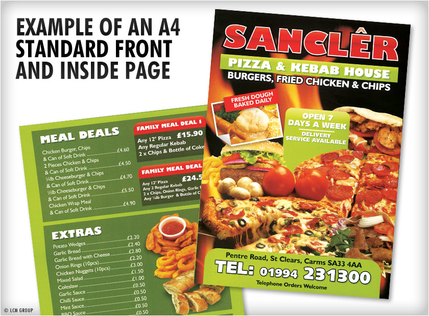 Takeaway menus a3 standard fold menu printing uk for Fish and chip shop menu template